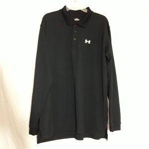 UNDER ARMOUR Men's Long Sleeve Black Polo Shirt